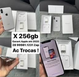 IPhone X 256gb,Lindo,zero cx,Garant.APPLE ATÉ 2020/AC TROCAS !!