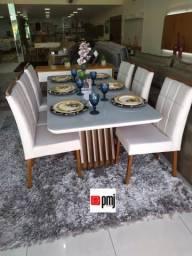 Black friday pmj, mesa agata 1.80x0,90mts base em madeira +6 cadeiras veludo ou linho