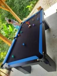 Mesa Charme Carlin Bilhares | Mesa Preta | Tecido Preto | Borda Azul