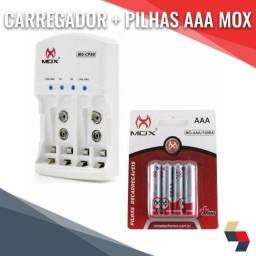 Pilhas AAA Recarregáveis+Carregador  Mox