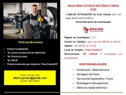 Título do anúncio: Técnico Mecânico Linha Leve