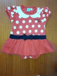 Vestido Body Bebê Disney Baby Minnie Mouse. Tam 0 a 3 meses.