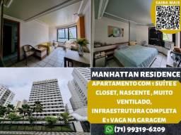 Título do anúncio: Manhattan Residence, 1 suíte, closet, nascente e 1 vaga de garagem na Pituba
