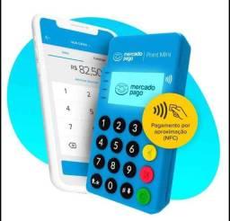 Título do anúncio: Máquina de cartão mercado pago Point Mini NFC (aceita aproximação)+ kit QR CODE