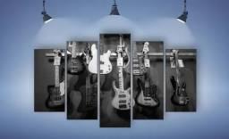 Quadro Mosaico 105x60cm Guitarras Preto 5 Peças (Produto Novo!)