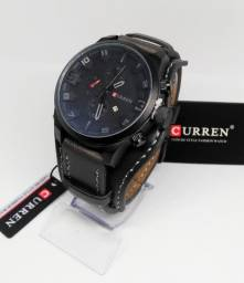 Relógios Curren Original pulseira de couro Black