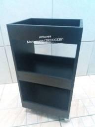 Título do anúncio: Carrinho auxiliar Preto Novo, 3 bandejas; Rodízios Silicone