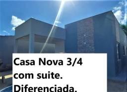 Título do anúncio: 3/4 c suíte Casa nova Ampla  Cajupiranga. Ótima localização. Rua calçada