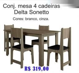 Conj. Mesa 4 cadeiras delta sonetto