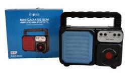 Caixa de Som Amplificada Bluetooth Portátil Usb TF Rádio FM - 8416