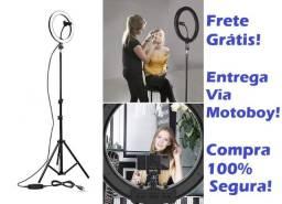 Ring Light Kit Completo (Fonte de Luz 64 LED) 26 cm + suporte + Tripé - Frete Grátis!