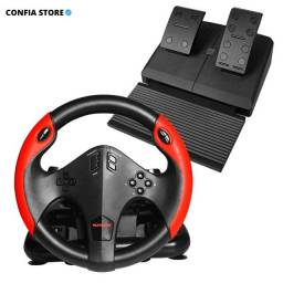 Título do anúncio: Kit Volante + Pedal Gamer PS4 PS3 Xbox PC Vibração + 180° Realismo Molas Jogos Corrida
