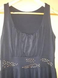 Título do anúncio: vestido longo preto em malha de qualidade com brilho e parte traseira mais longa