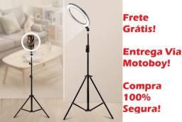 Ring Light Completo (26 cm) Ideal para fotografia em que deseja-se destacar! Frete Grátis!