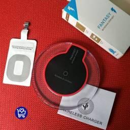 Carregador por indução V8/IPhone<br><br>R$70,00<br><br>