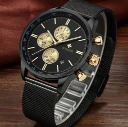 Título do anúncio: Relógio Original Unissex Aço Inox Preto com Dourado