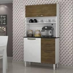 Kit Cozinha Roma 3 Portas 2 Gavetas Saletto Branco/Ipê CestaPlus