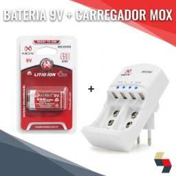 Bateria Recarregável 450mAh 9V+ carregador