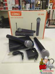 Microfone sem fio duplo uhf profissional