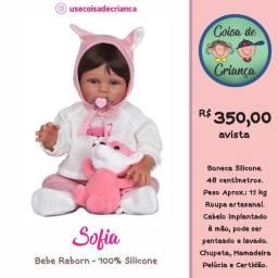 Bebê Boneca Reborn Sofia 100% silicone 48 cm