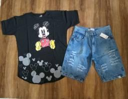 Conjuntos 1 camisa e 1 bermuda jeans por apenas $85,00