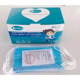 Título do anúncio: Promoção!Máscara descartável tripla camada infantil com 50 unidades cor azul