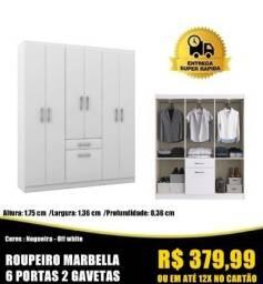 Título do anúncio: Tá acabandooo: roupeiro marbella 6 portas 2 gavetas R$ 379,99