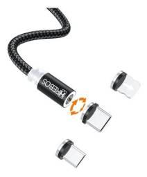 Cabo Carregador Magnético 3 Em 1 Tipo C , lightning Micro USB
