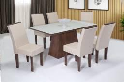 Título do anúncio: Mesa Florença 6 cadeiras / tampo de vidro laqueado 100% mdf