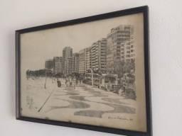 Gravura assinada Bruno Pedrosa Av.atlântica Copacabana 1986