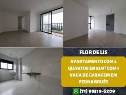 Título do anúncio: Flor de Lis, 2 quartos, suíte em 52m², varanda e 1 vaga de garagem em Pernambués