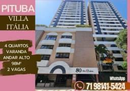 Título do anúncio: Na Pituba| Villa Italia 4/4, andar alto, varanda, 98m², (2 vagas soltas)._TL4