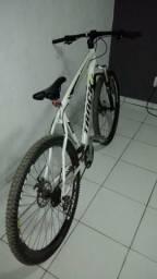 Bicicleta aço de carbono, amortecedor dianteiro, freios a discos