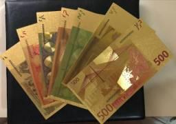 Coleção de cédulas de Euro souvenir, lembrando para colecionadores, kit com 7 nota