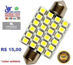 Lâmpada LED Torpedo 24 LEDs Branca Placa Teto e Porta Malas