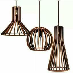 Pendente Madeira + lâmpada