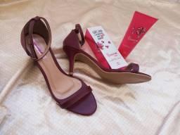 (cada) Sandálias salto vinho / salto Anabela bege