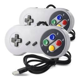 2 Controles Joystick Super Nintendo Usb Emulador Pc