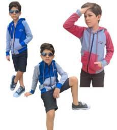 kit 2 casaco moletom infantil menino 14 liso capuz roupa