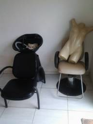 Cadeira e lavatório para salão