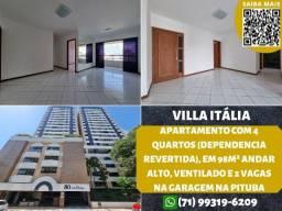 Título do anúncio: Villa Itália, 4 quartos, suíte em 98m², andar alto, varanda e 2 vagas de garagem na Pituba