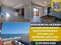 Título do anúncio: Residencial Oceano, 1 quarto com varanda e vista mar em 43m² e 1 vaga de garagem na Pituba