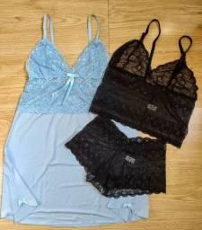 Camisola renda + lingerie cropped