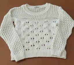 Título do anúncio: Blusa Frente em Tricot com fios dourados Tamanho M<br>Marca Filare Jacutinga