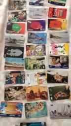 Coleção de cartões telefônicos antigos, Cerca 50 tipos diferentes, Envio pelo correio