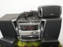 Aparelho de som e caixas home theater