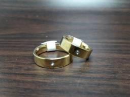 Aliança banhada ouro