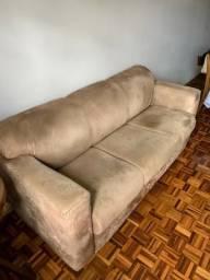 Sofá de couro vegetal, cor castor