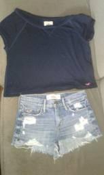 short jeans 36 e blusinha azul m hollister usadas.