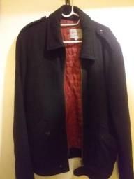 Casaco Preto estilo Militar (Fatto a Mano) tamanho G / Masculino / vermelho por dentr
